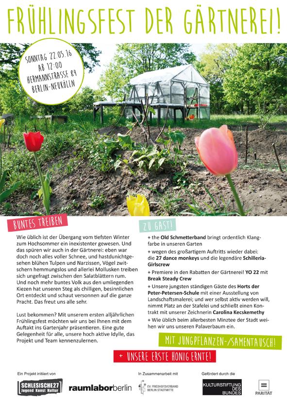 Frühlingsfest der Gärtnerei am Sonntag, den 22. Mai ab 12 Uhr